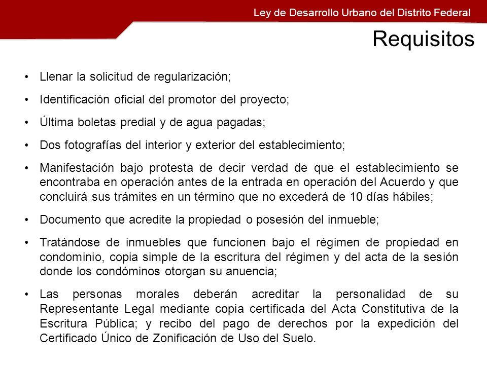 Llenar la solicitud de regularización; Identificación oficial del promotor del proyecto; Última boletas predial y de agua pagadas; Dos fotografías del