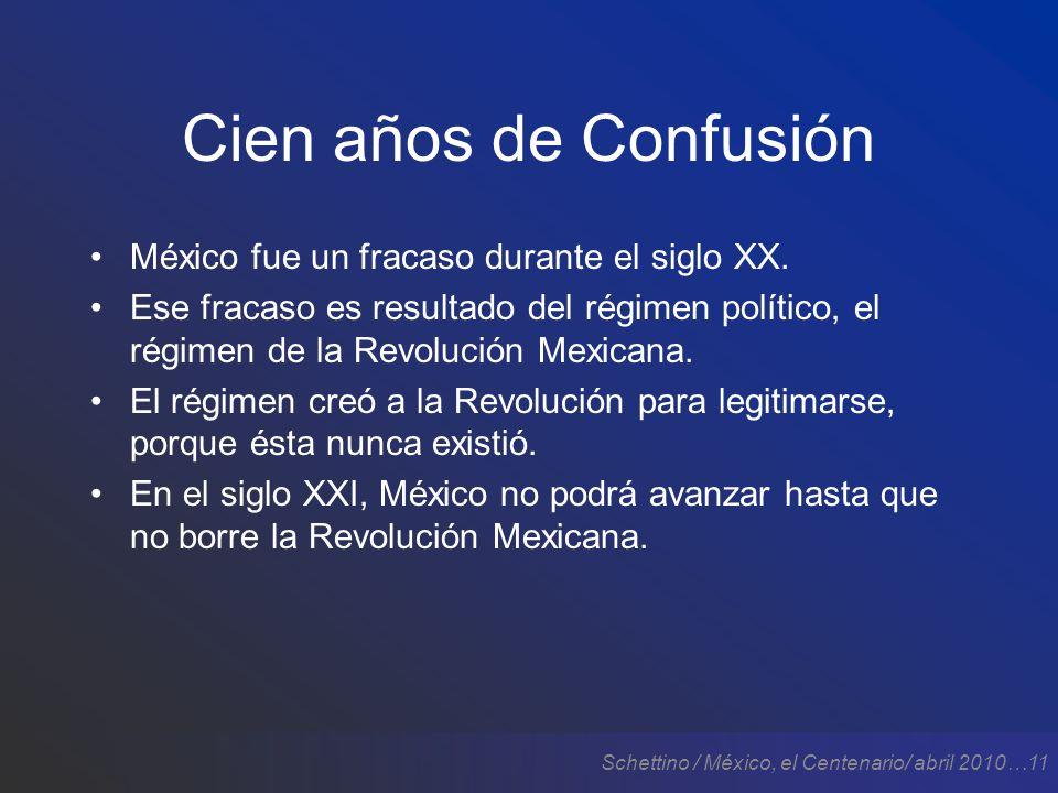 Schettino / México, el Centenario/ abril 2010…11 Cien años de Confusión México fue un fracaso durante el siglo XX.