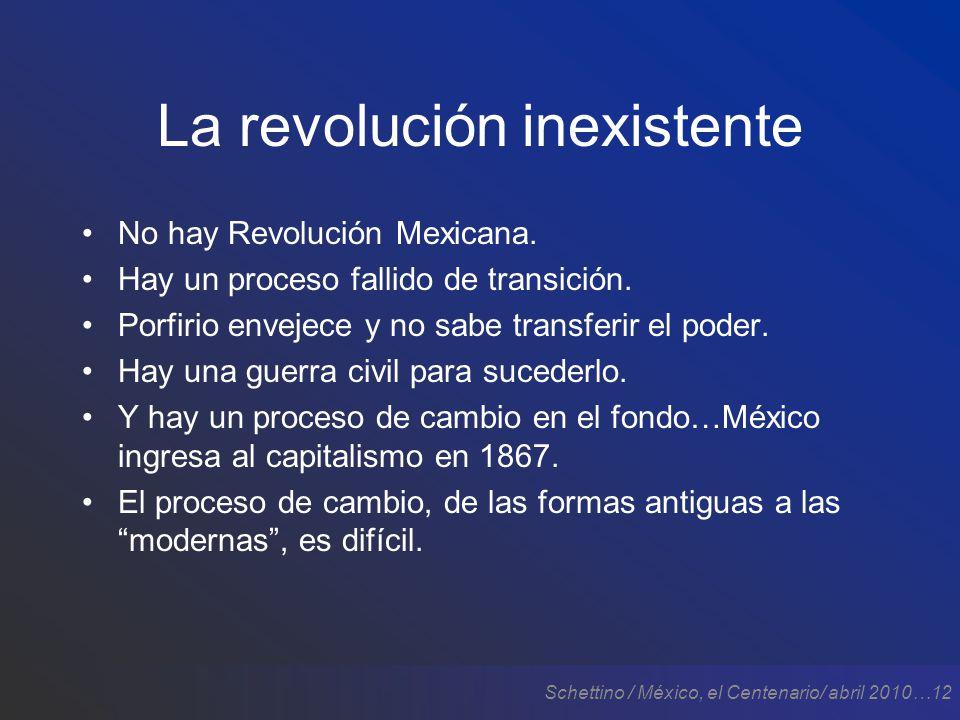 Schettino / México, el Centenario/ abril 2010…12 La revolución inexistente No hay Revolución Mexicana.