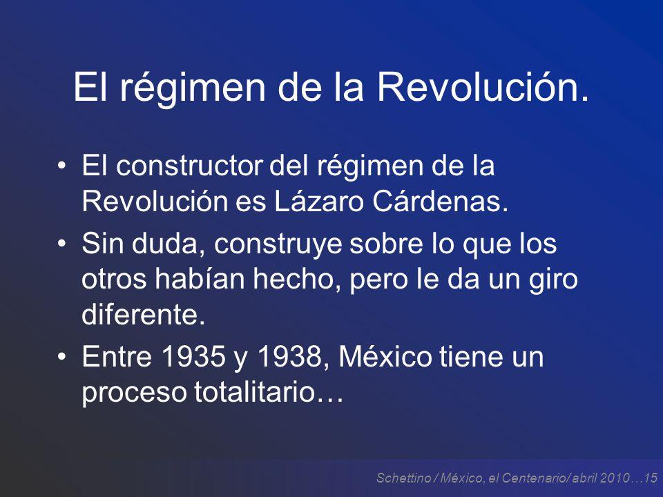 Schettino / México, el Centenario/ abril 2010…15 El régimen de la Revolución.
