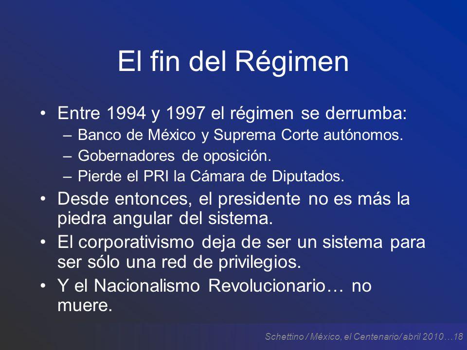 Schettino / México, el Centenario/ abril 2010…18 El fin del Régimen Entre 1994 y 1997 el régimen se derrumba: –Banco de México y Suprema Corte autónomos.