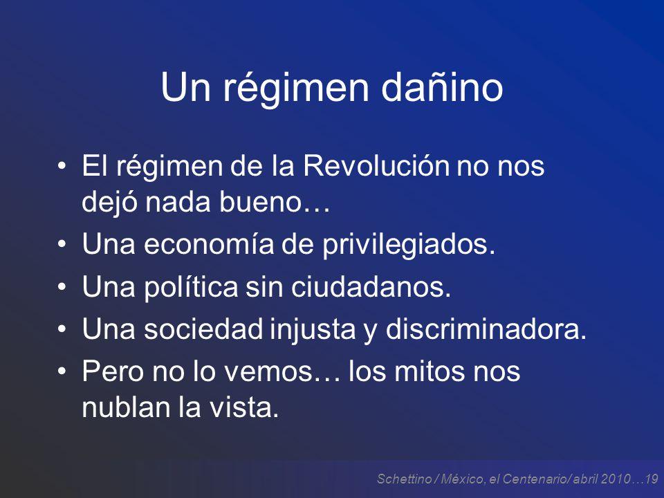 Schettino / México, el Centenario/ abril 2010…19 Un régimen dañino El régimen de la Revolución no nos dejó nada bueno… Una economía de privilegiados.