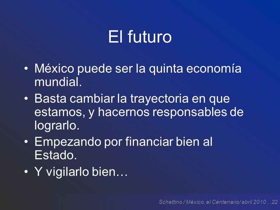 Schettino / México, el Centenario/ abril 2010…22 El futuro México puede ser la quinta economía mundial.