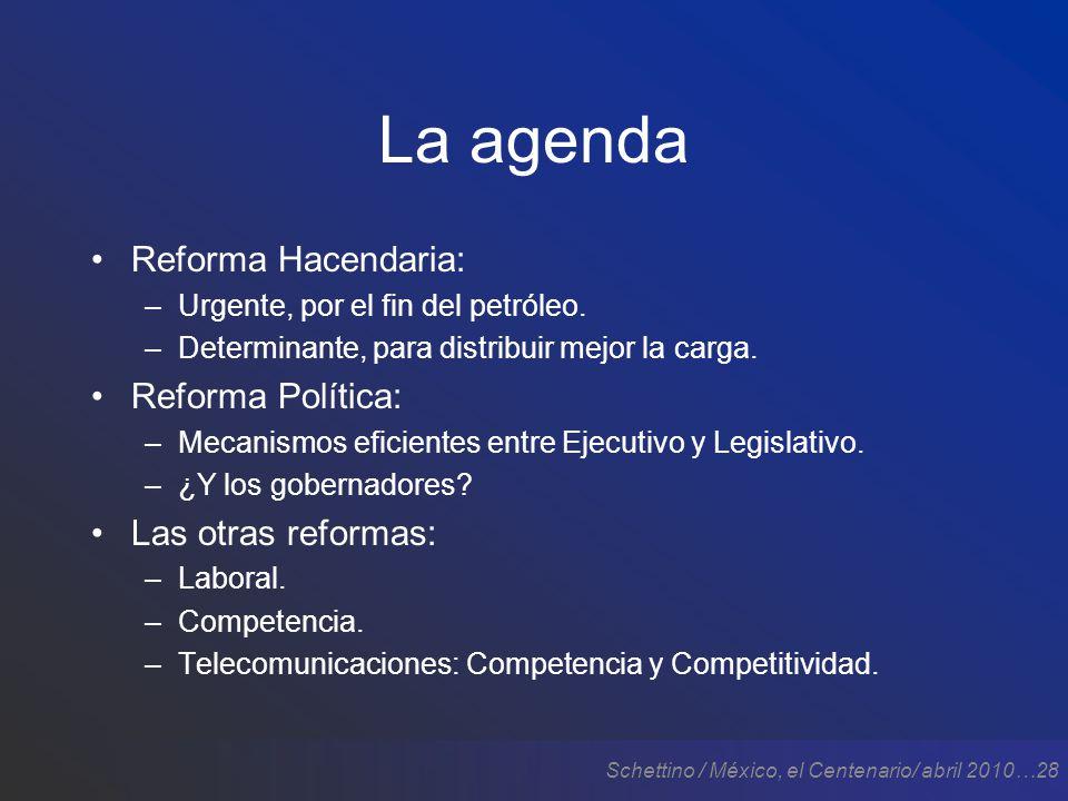 Schettino / México, el Centenario/ abril 2010…28 La agenda Reforma Hacendaria: –Urgente, por el fin del petróleo.