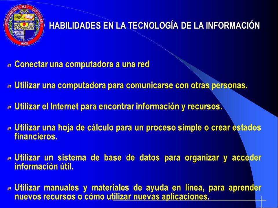 Conectar una computadora a una red Utilizar una computadora para comunicarse con otras personas. Utilizar el Internet para encontrar información y rec