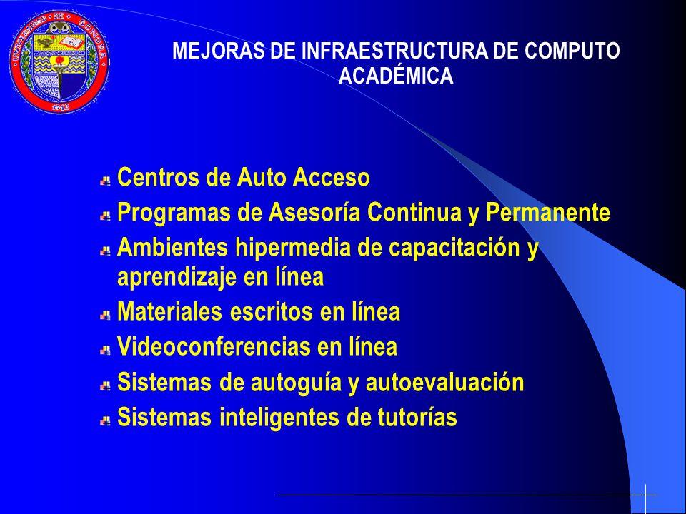 Centros de Auto Acceso Programas de Asesoría Continua y Permanente Ambientes hipermedia de capacitación y aprendizaje en línea Materiales escritos en