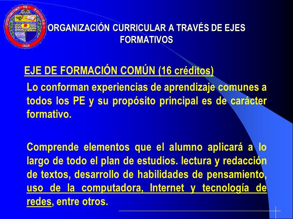 ORGANIZACIÓN CURRICULAR A TRAVÉS DE EJES FORMATIVOS EJE DE FORMACIÓN COMÚN (16 créditos) Lo conforman experiencias de aprendizaje comunes a todos los