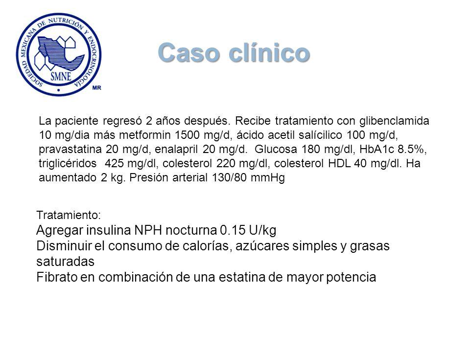 La paciente regresó 2 años después. Recibe tratamiento con glibenclamida 10 mg/dia más metformin 1500 mg/d, ácido acetil salícilico 100 mg/d, pravasta