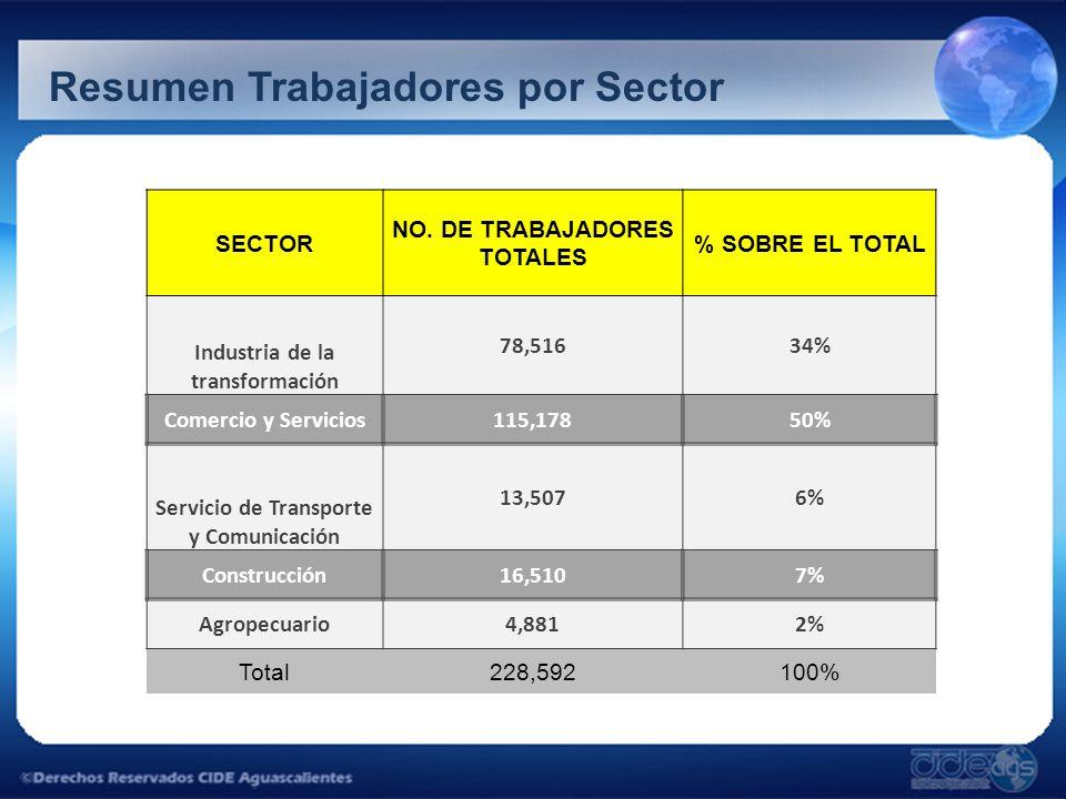 Resumen Trabajadores por Sector SECTOR NO. DE TRABAJADORES TOTALES % SOBRE EL TOTAL Industria de la transformación 78,51634% Comercio y Servicios115,1