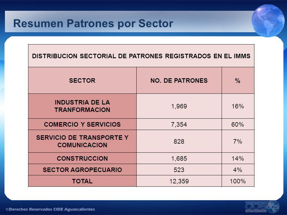 Resumen Patrones por Sector DISTRIBUCION SECTORIAL DE PATRONES REGISTRADOS EN EL IMMS SECTORNO. DE PATRONES% INDUSTRIA DE LA TRANFORMACION 1,96916% CO