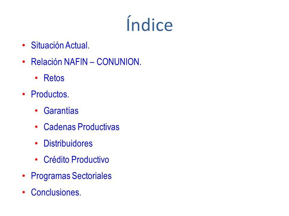Situación Actual. Relación NAFIN – CONUNION. Retos Productos. Garantías Cadenas Productivas Distribuidores Crédito Productivo Programas Sectoriales Co