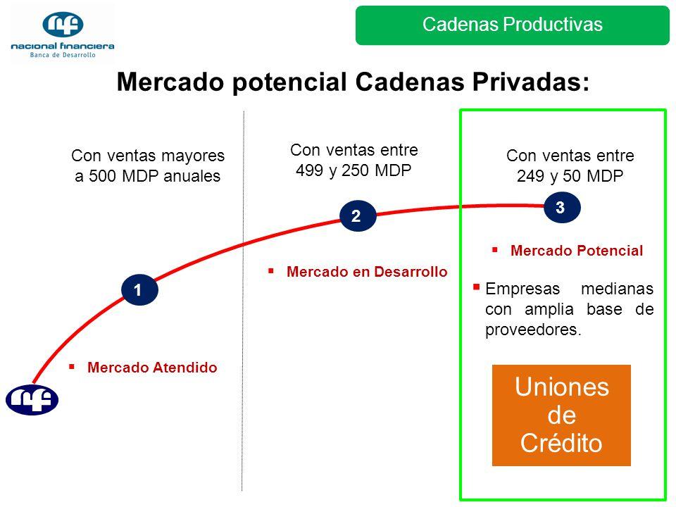 1 2 Mercado potencial Cadenas Privadas: Con ventas mayores a 500 MDP anuales Con ventas entre 499 y 250 MDP 3 Con ventas entre 249 y 50 MDP Empresas m