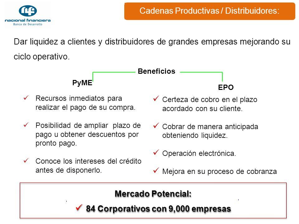 Cadenas Productivas / Distribuidores: Dar liquidez a clientes y distribuidores de grandes empresas mejorando su ciclo operativo. Mercado Potencial: 84
