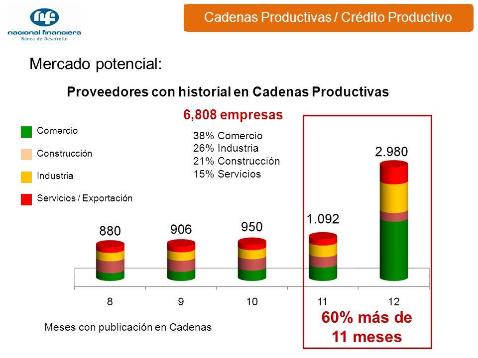 Crédito Productivo Proveedores con historial en Cadenas Productivas 6,808 empresas Mercado potencial: Meses con publicación en Cadenas Comercio Constr