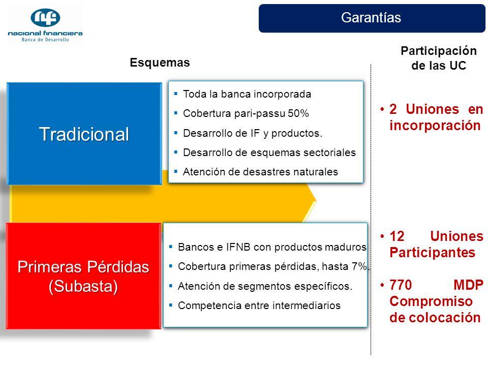 Garantías TradicionalTradicional Primeras Pérdidas (Subasta) (Subasta) Bancos e IFNB con productos maduros Cobertura primeras pérdidas, hasta 7%. Aten