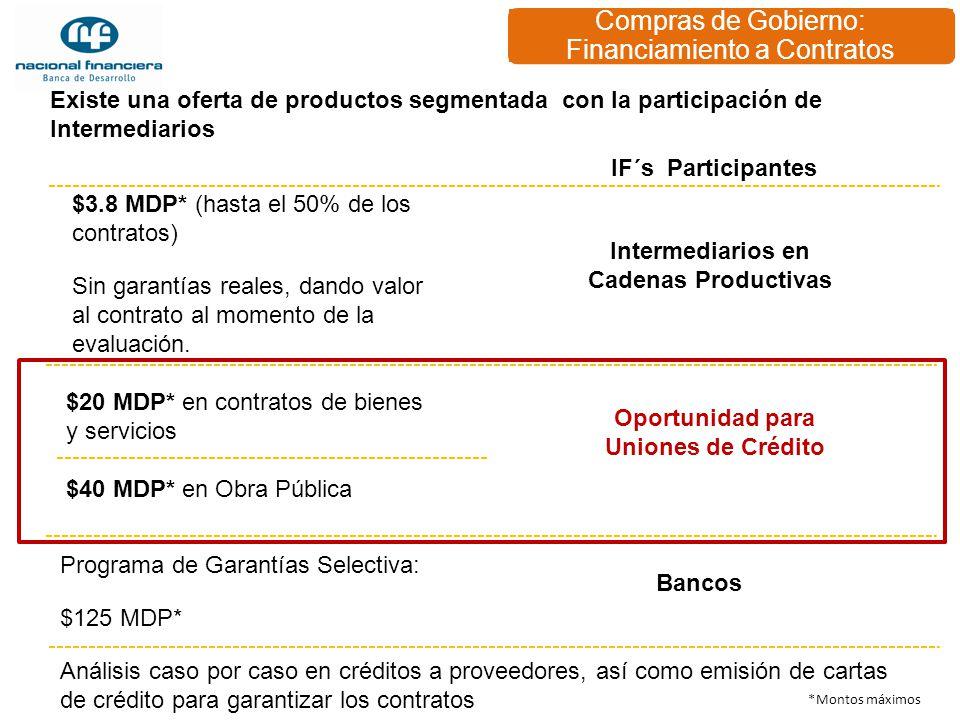 Compras de Gobierno: Financiamiento a Contratos Programa de Garantías Selectiva: $125 MDP* Análisis caso por caso en créditos a proveedores, así como