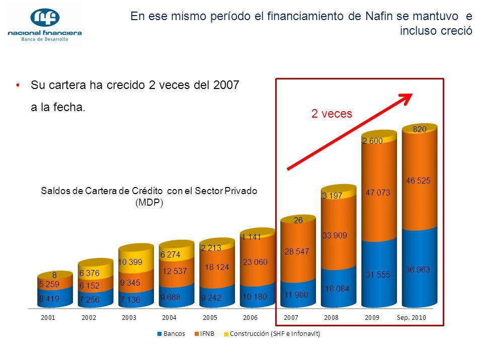 En ese mismo período el financiamiento de Nafin se mantuvo e incluso creció Saldos de Cartera de Crédito con el Sector Privado (MDP) Su cartera ha cre