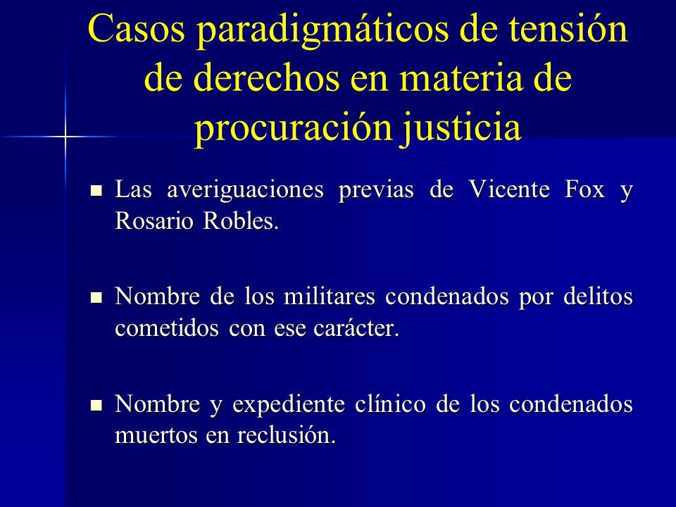 Casos paradigmáticos de tensión de derechos en materia de procuración justicia Las averiguaciones previas de Vicente Fox y Rosario Robles. Las averigu