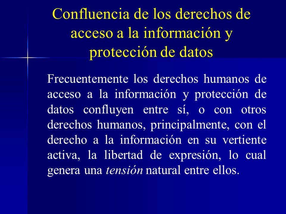 Confluencia de los derechos de acceso a la información y protección de datos Frecuentemente los derechos humanos de acceso a la información y protecci