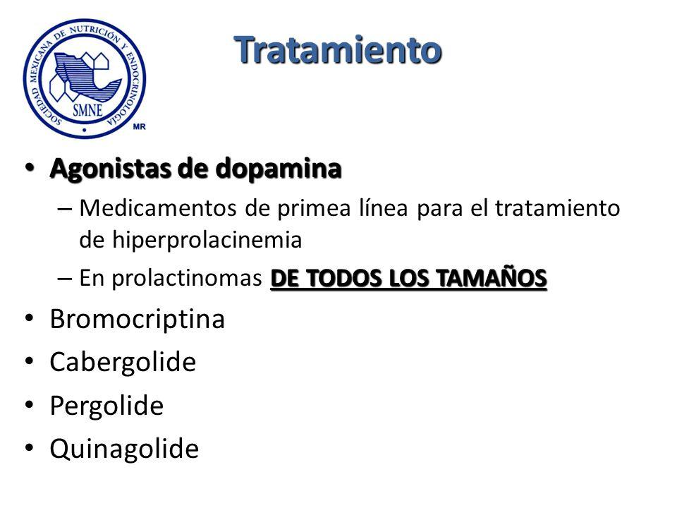 Tratamiento Agonistas de dopamina Agonistas de dopamina – Medicamentos de primea línea para el tratamiento de hiperprolacinemia DE TODOS LOS TAMAÑOS –