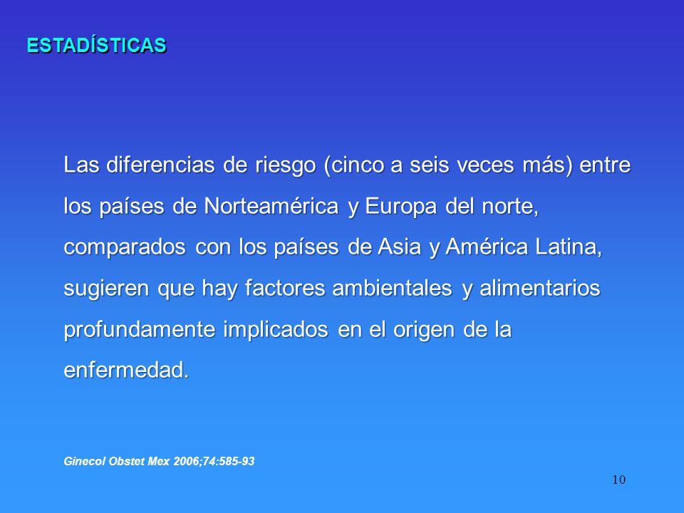 10 Las diferencias de riesgo (cinco a seis veces más) entre los países de Norteamérica y Europa del norte, comparados con los países de Asia y América Latina, sugieren que hay factores ambientales y alimentarios profundamente implicados en el origen de la enfermedad.