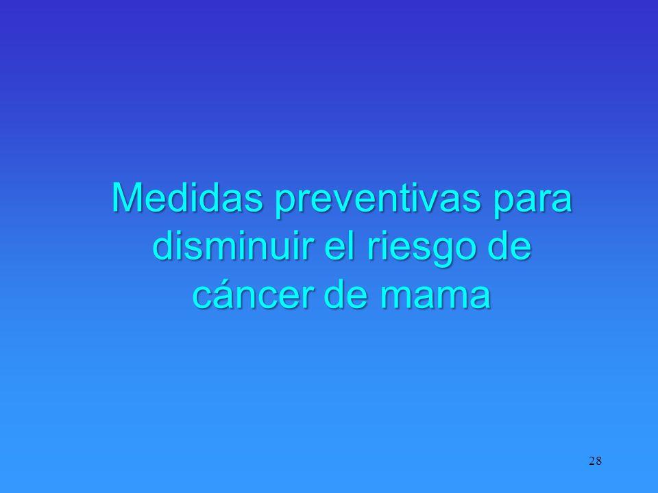 28 Medidas preventivas para disminuir el riesgo de cáncer de mama