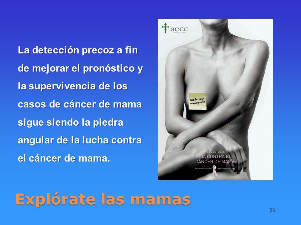 29 Explórate las mamas La detección precoz a fin de mejorar el pronóstico y la supervivencia de los casos de cáncer de mama sigue siendo la piedra angular de la lucha contra el cáncer de mama.