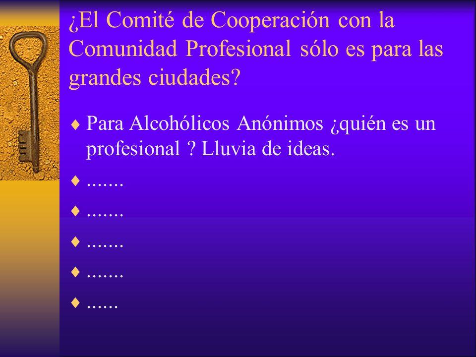 ¿El Comité de Cooperación con la Comunidad Profesional sólo es para las grandes ciudades? Para Alcohólicos Anónimos ¿quién es un profesional ? Lluvia
