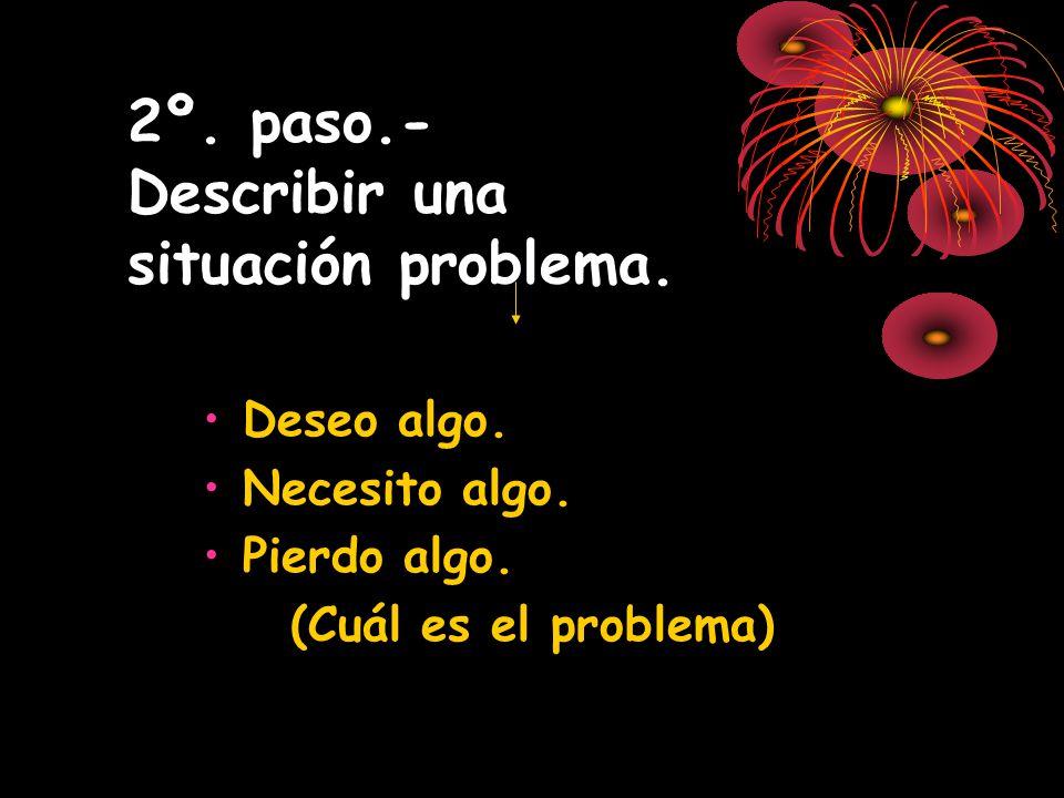 2º. paso.- Describir una situación problema. Deseo algo. Necesito algo. Pierdo algo. (Cuál es el problema)