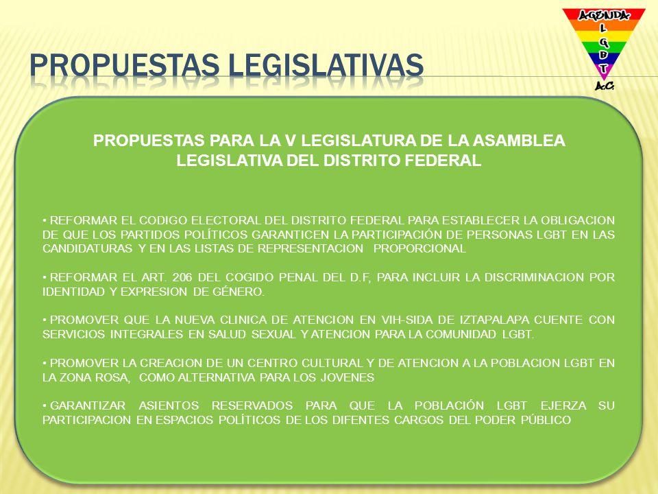 CREACION DE UN CUERPO DE POLICIA GAY PARA PREVENIR CONDUCTAS DELICTIVAS Y DISCRIMINATORIAS VS LA COMUNIDAD LGBT PARA DETENER Y CASTIGAR LOS CRIMINES DE ODIO POR HOMOFOBIA AMPLIAR LA COBERTURA DE ATENCION DEL SEGURO POPULAR PARA LAS PERSONAS QUE VIVEN CON VIH/SIDA PARA RECIBIR ATENCION INTEGRAL REFORMAR LA FIGURA DE LA PATRIA POTESTAD PARA PERMITIR LA ADOPCION DEL HIJO DE UNA PERSONA POR SU ACTUAL PAREJA DE MANERA GENERAL CUMPLIR CON EL PROGRAMA DE DERECHOS HUMANOS QUE EL GDF PRESENTO EN AGOSTO DEL 2009 PARA REVERTIR LA DISCRIMINACION Y LA HOMOFOBIA ESTABLECER UNA BOLSA DE TRABAJO PARA PERSONAS LGBT Jaime LOPEZ VELA, AGENDA LGBT A.C.