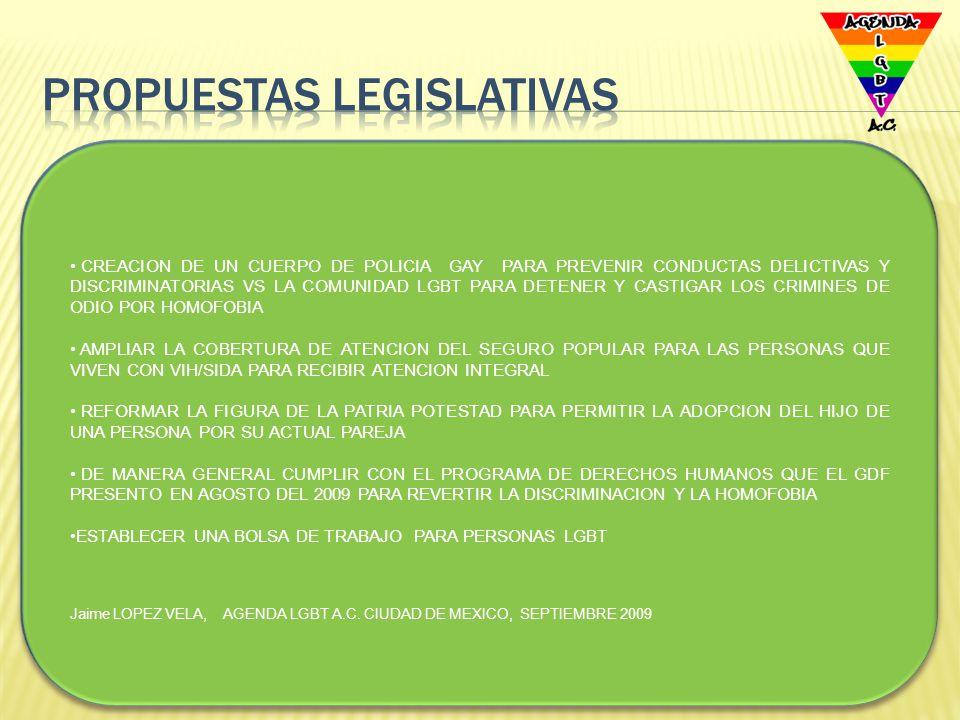 PROPUESTAS PARA LA ATENCION DE LA COMUNIDAD LGBT EN LA LXI LEGISLATURA DEL CONGRESO FEDERAL REFORMAR EL CÓDIGO FEDERAL DE INSTITUCIONES Y PROCEDIMIENTOS ELECTORALES A FIN DE ESTABLECER LA OBLIGATORIEDAD DE LOS PARTIDOS POLÍTICOS PARA ASEGURAR LA PARTICIPACIÓN DE PERSONAS LGBT EN LOS PROCESOS Y EN LAS LISTAS DE REPRESENTACIÓN PROPORCIONAL.