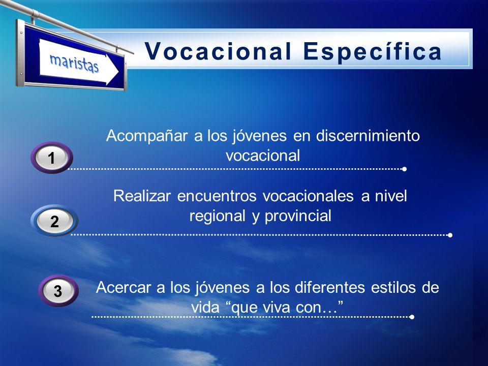 LOGO Vocacional Específica Realizar encuentros vocacionales a nivel regional y provincial 2 Acompañar a los jóvenes en discernimiento vocacional 31 Ac