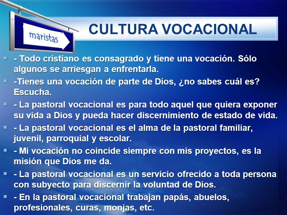 LOGO CULTURA VOCACIONAL - Todo cristiano es consagrado y tiene una vocación. Sólo algunos se arriesgan a enfrentarla. - Todo cristiano es consagrado y