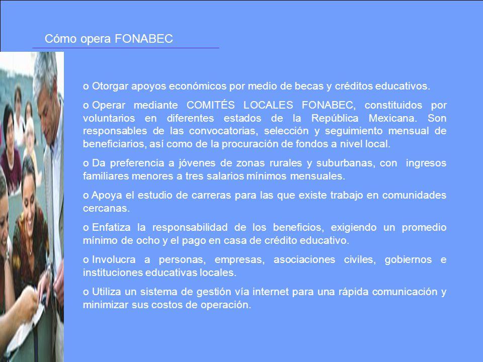 Cómo opera FONABEC o Otorgar apoyos económicos por medio de becas y créditos educativos. o Operar mediante COMITÉS LOCALES FONABEC, constituidos por v