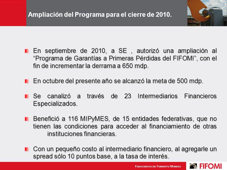Ampliación del Programa para el cierre de 2010.