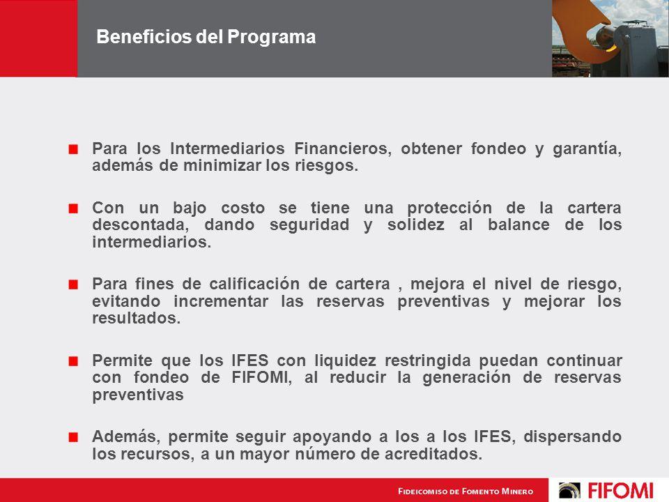 Beneficios del Programa Para los Intermediarios Financieros, obtener fondeo y garantía, además de minimizar los riesgos.