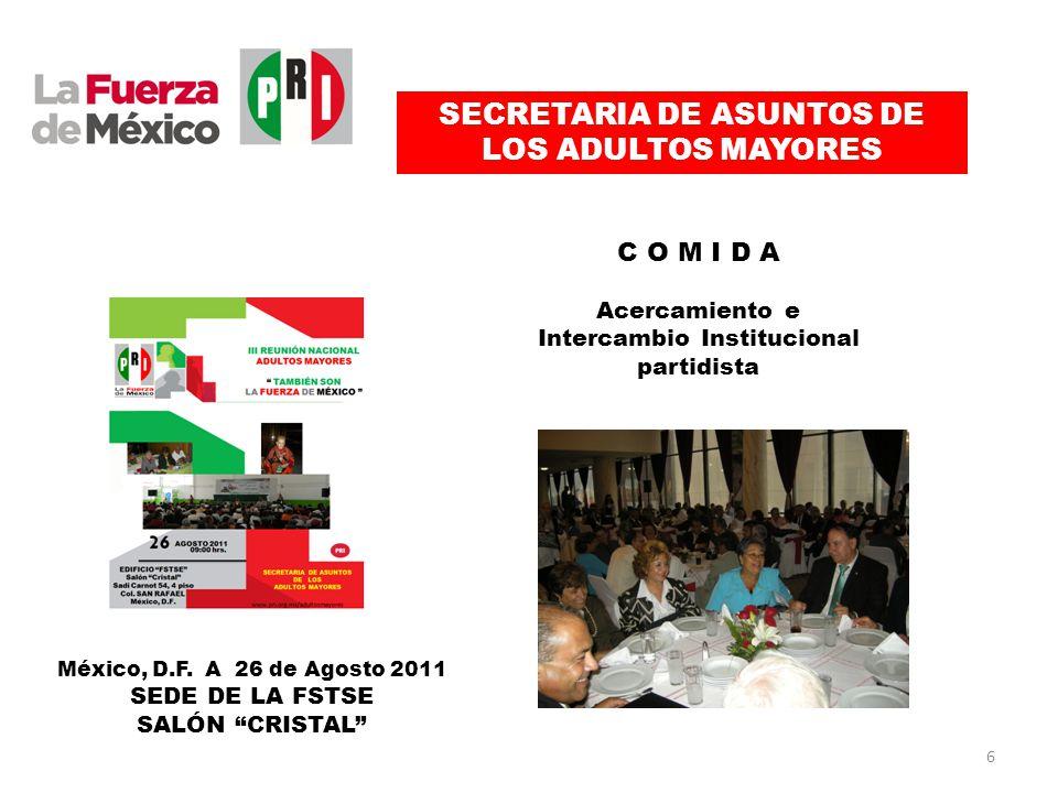 SECRETARIA DE ASUNTOS DE LOS ADULTOS MAYORES C O M I D A Acercamiento e Intercambio Institucional partidista México, D.F.