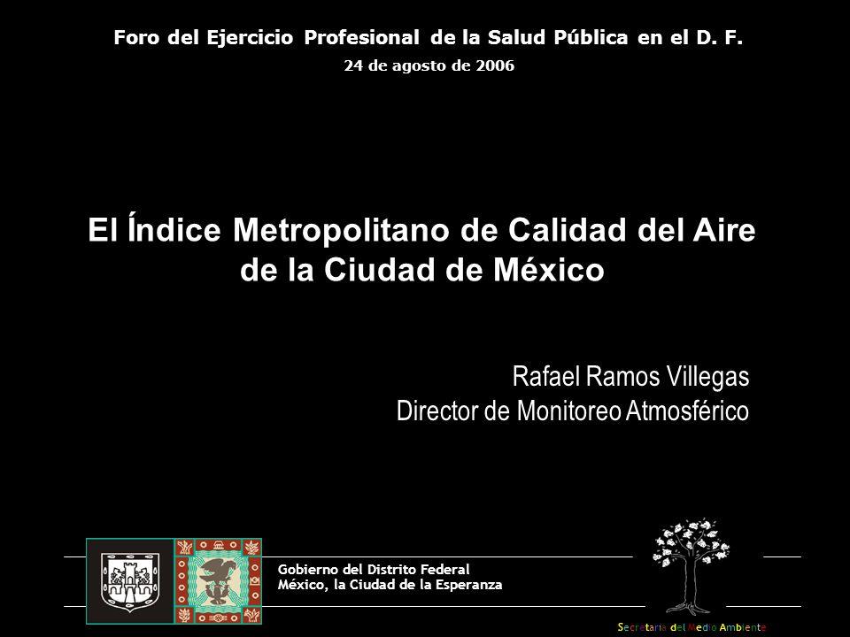 El Índice Metropolitano de Calidad del Aire de la Ciudad de México Gobierno del Distrito Federal México, la Ciudad de la Esperanza Foro del Ejercicio