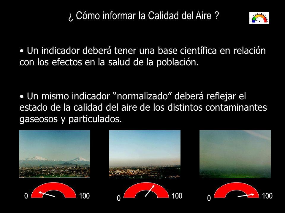 0 00 100 ¿ Cómo informar la Calidad del Aire ? Un indicador deberá tener una base científica en relación con los efectos en la salud de la población.