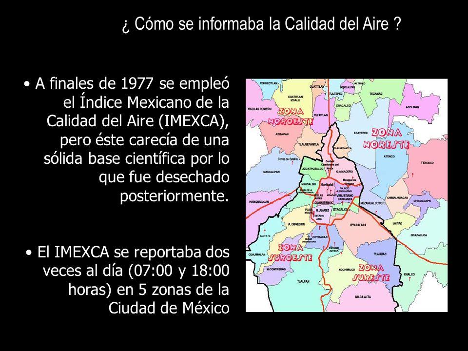 A finales de 1977 se empleó el Índice Mexicano de la Calidad del Aire (IMEXCA), pero éste carecía de una sólida base científica por lo que fue desecha
