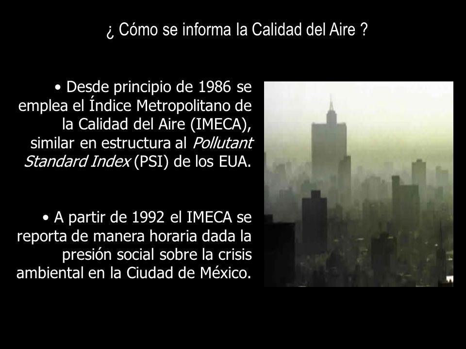 ¿ Cómo se informa la Calidad del Aire ? Desde principio de 1986 se emplea el Índice Metropolitano de la Calidad del Aire (IMECA), similar en estructur