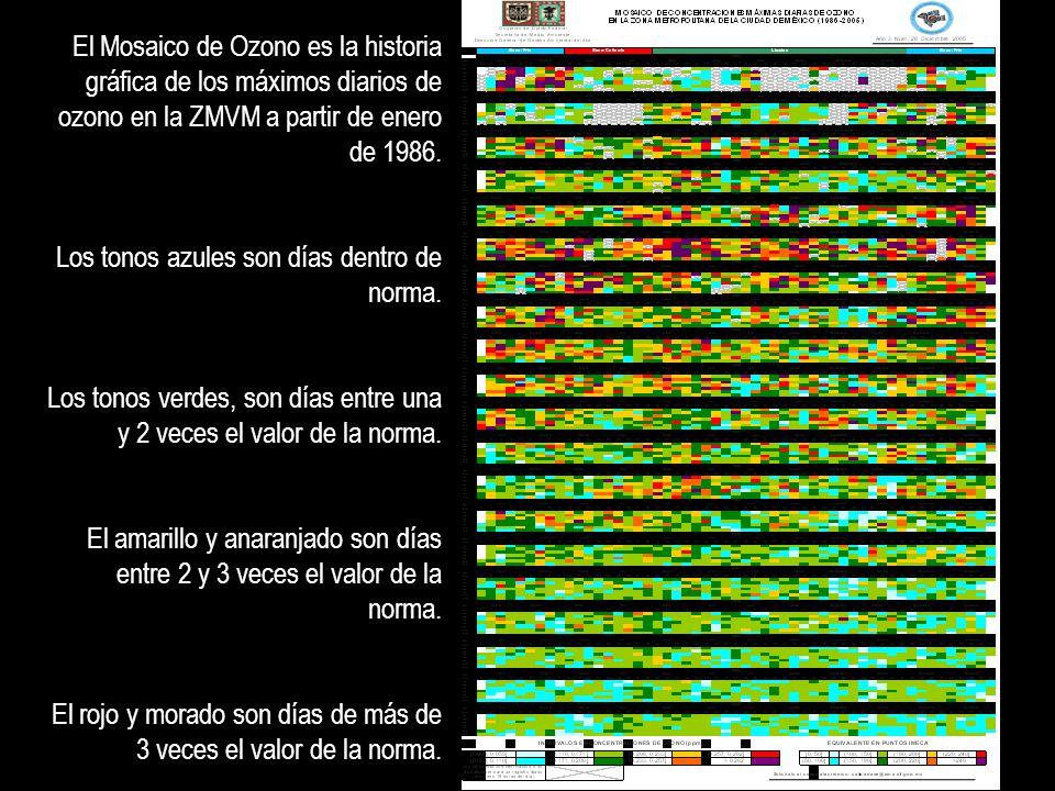 El Mosaico de Ozono es la historia gráfica de los máximos diarios de ozono en la ZMVM a partir de enero de 1986. Los tonos azules son días dentro de n