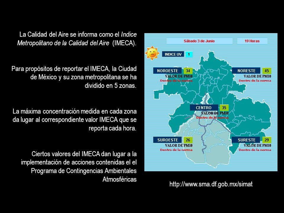 La Calidad del Aire se informa como el Indice Metropolitano de la Calidad del Aire (IMECA). Para propósitos de reportar el IMECA, la Ciudad de México