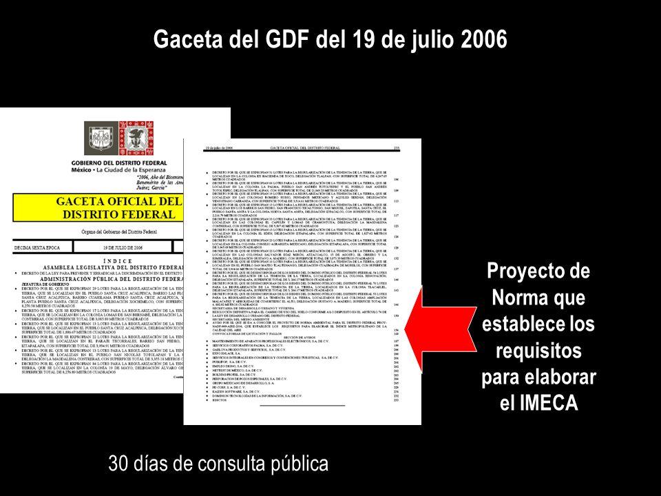 Gaceta del GDF del 19 de julio 2006 Proyecto de Norma que establece los requisitos para elaborar el IMECA 30 días de consulta pública
