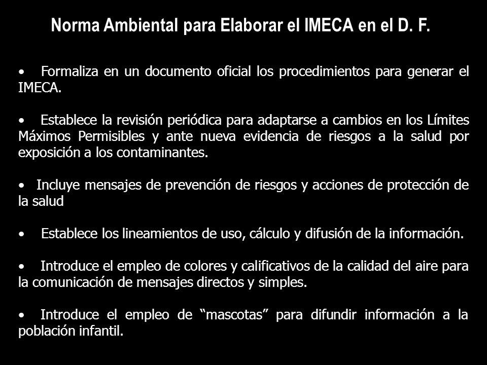 Norma Ambiental para Elaborar el IMECA en el D. F. Formaliza en un documento oficial los procedimientos para generar el IMECA. Establece la revisión p