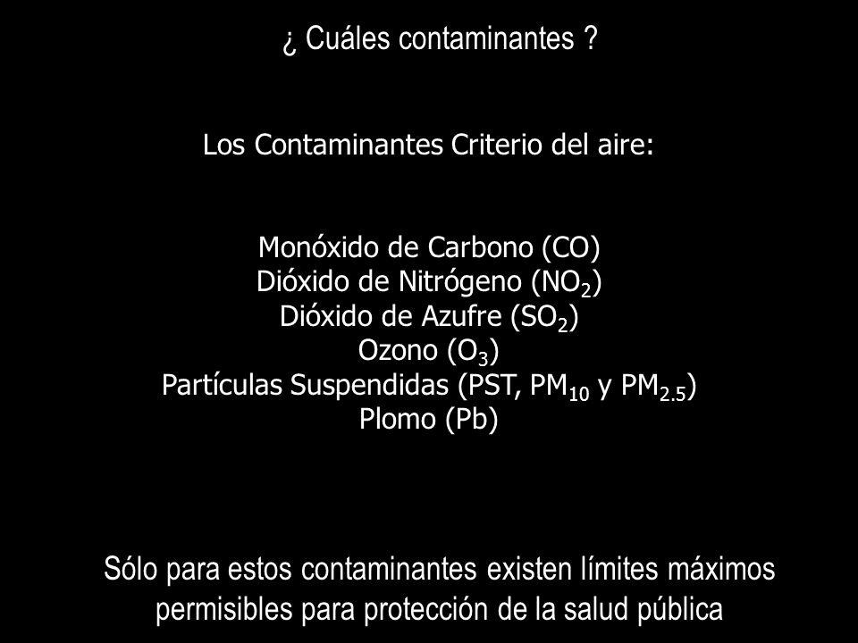 ¿ Cuáles contaminantes ? Los Contaminantes Criterio del aire: Monóxido de Carbono (CO) Dióxido de Nitrógeno (NO 2 ) Dióxido de Azufre (SO 2 ) Ozono (O