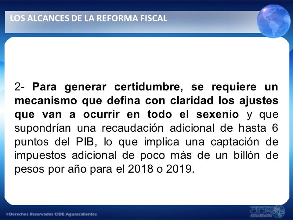 2- Para generar certidumbre, se requiere un mecanismo que defina con claridad los ajustes que van a ocurrir en todo el sexenio y que supondrían una recaudación adicional de hasta 6 puntos del PIB, lo que implica una captación de impuestos adicional de poco más de un billón de pesos por año para el 2018 o 2019.