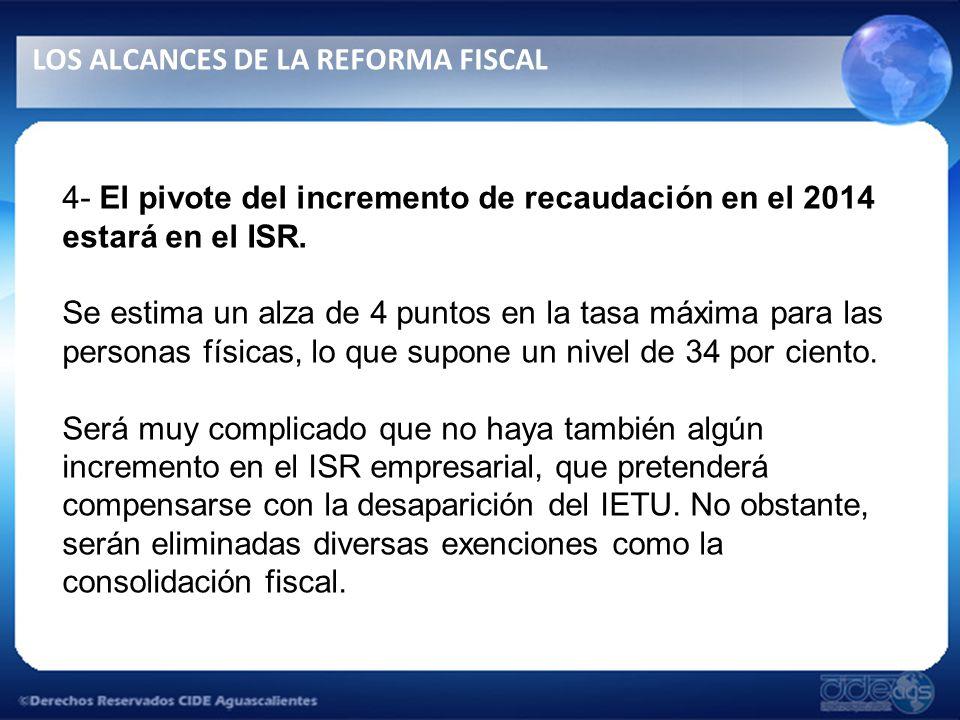 4- El pivote del incremento de recaudación en el 2014 estará en el ISR.
