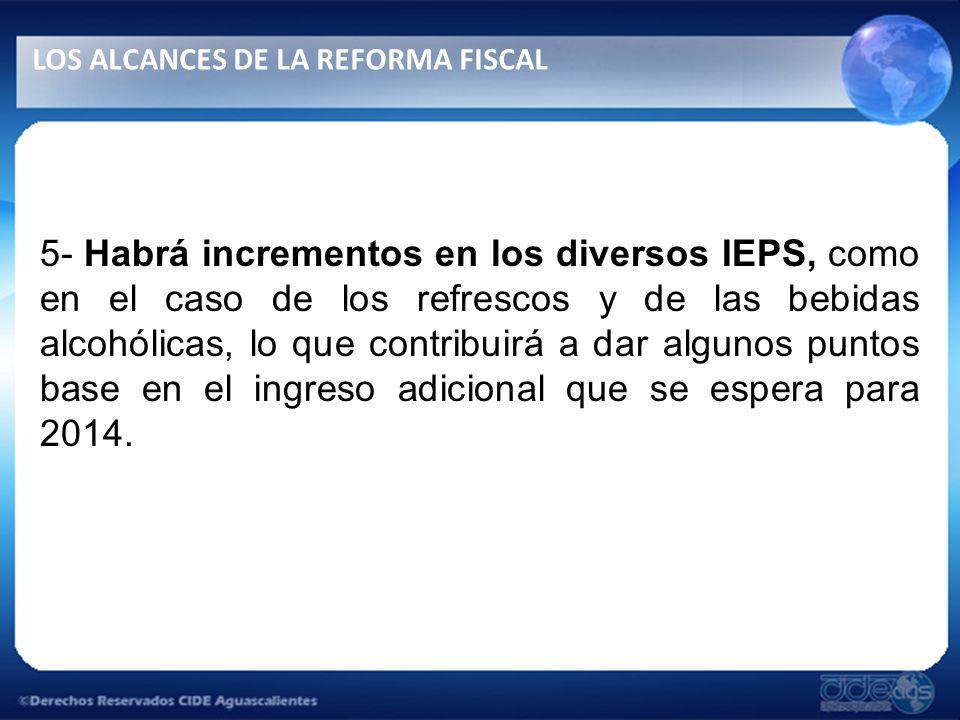 5- Habrá incrementos en los diversos IEPS, como en el caso de los refrescos y de las bebidas alcohólicas, lo que contribuirá a dar algunos puntos base en el ingreso adicional que se espera para 2014.