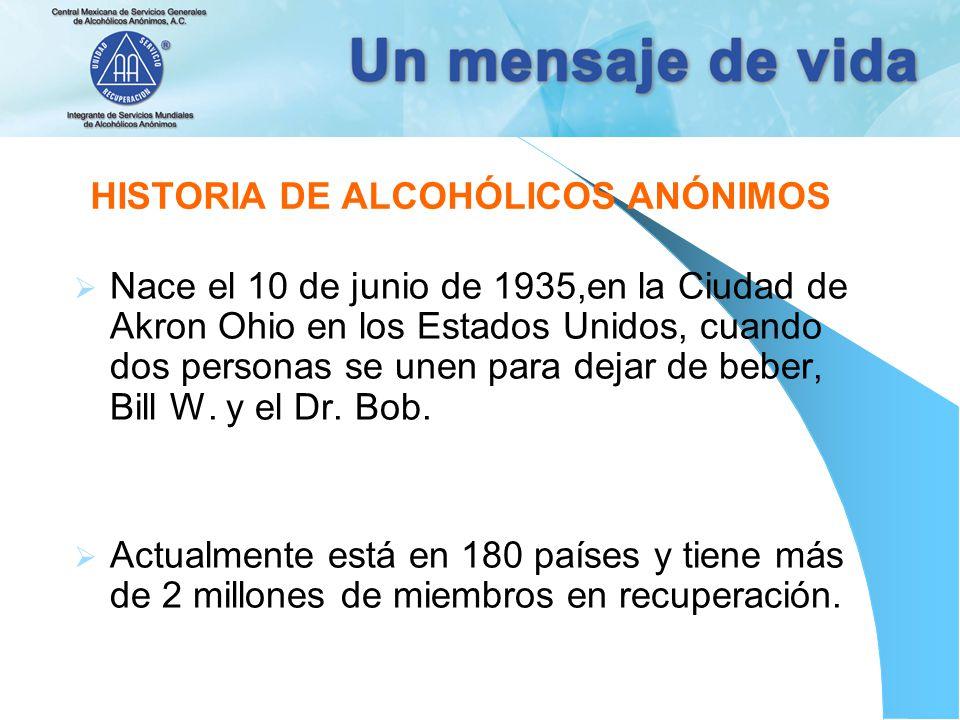 HISTORIA DE ALCOHÓLICOS ANÓNIMOS Nace el 10 de junio de 1935,en la Ciudad de Akron Ohio en los Estados Unidos, cuando dos personas se unen para dejar